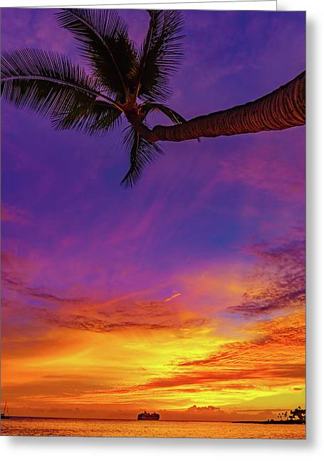 Vibrant Kona Inn Sunset Greeting Card