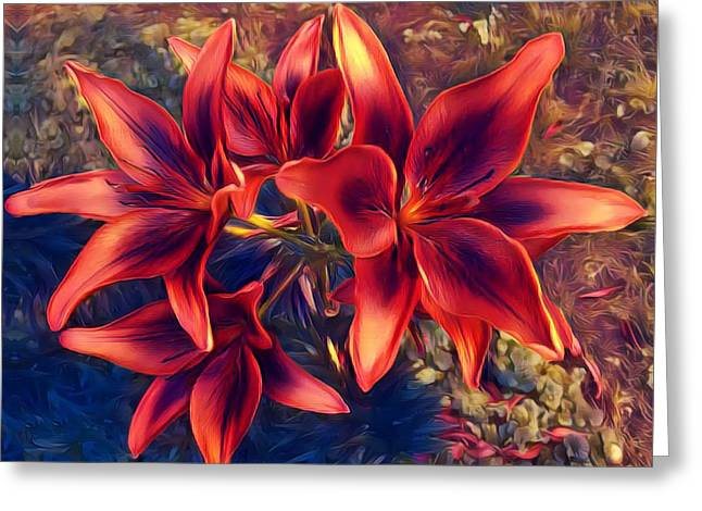 Vibrant Red Lilies Greeting Card
