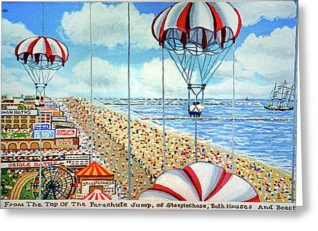 View From Parachute Jump Towel Version Greeting Card