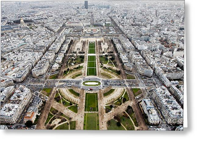View From The Eiffel Tower, Down The Greeting Card