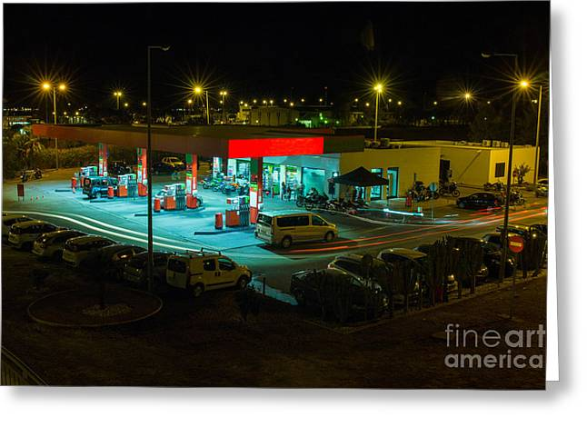 View Of A Urban Gas Station Working In Greeting Card