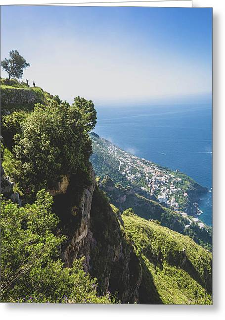 View Of Amalfi Italy From Path Of The Gods Greeting Card