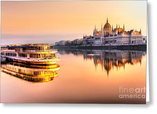 View Of Budapest Parliament At Sunrise Greeting Card