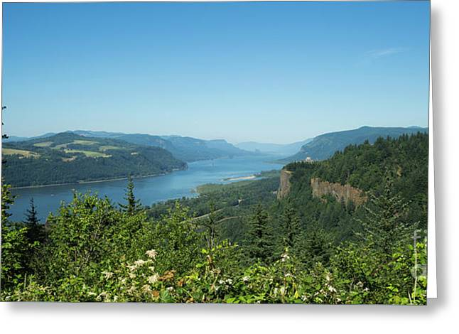 Greeting Card featuring the photograph View Of Columbia River And Vista House by Charmian Vistaunet