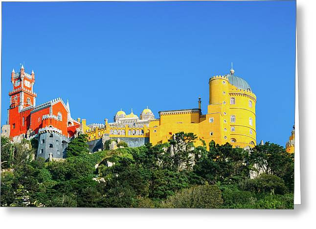 View Of Pena National Palace, Sintra, Portugal, Europe Greeting Card