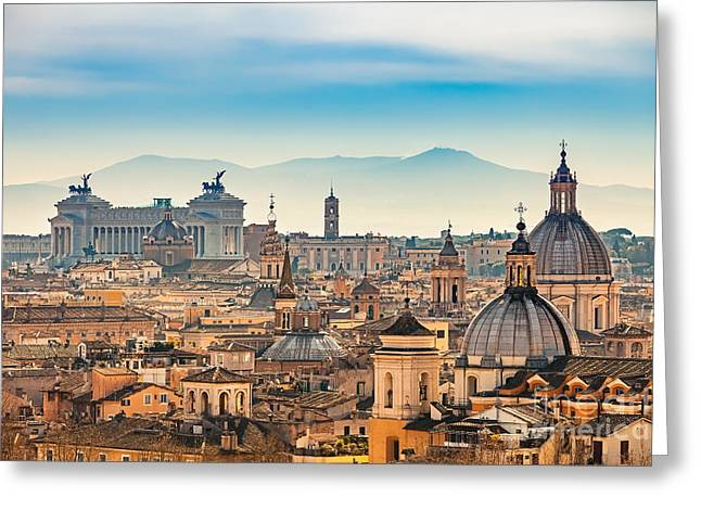 View Of Rome From Castel Santangelo Greeting Card