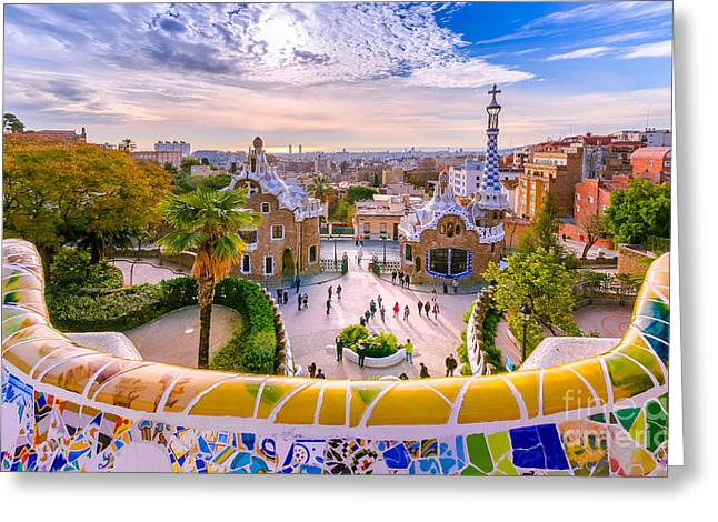 View Of The City From Park Guell In Greeting Card by Georgios Tsichlis