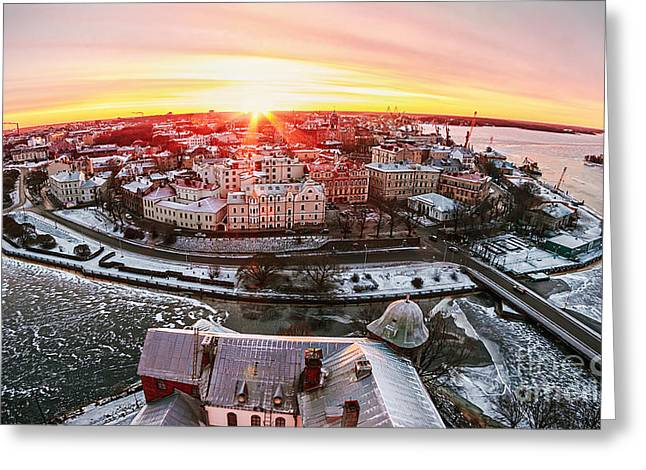 View Of The Historic City Of Vyborg Greeting Card