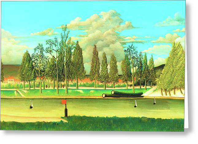 View Of The Quai Asnieres-the Canal And Landscape With Tree Trunks - Digital Remastered Edition Greeting Card