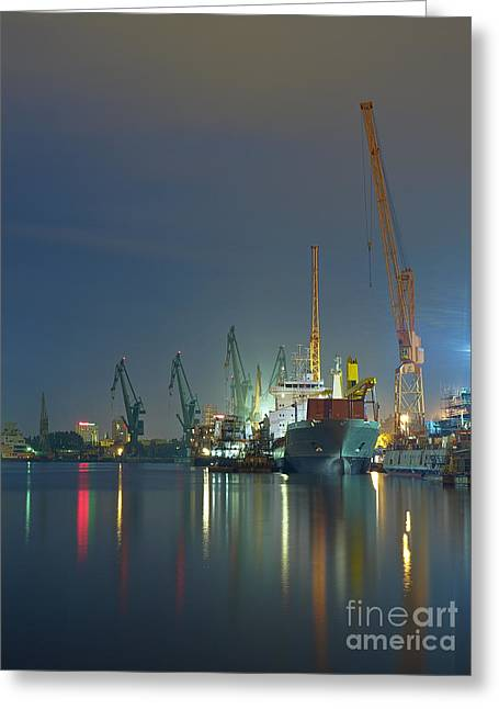 View Of The Quay Shipyard Of Gdansk Greeting Card