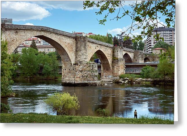 View Of The Roman Bridge And The Minho River Greeting Card