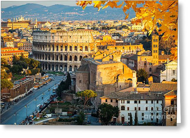 View On Colosseum In Rome, Italy Greeting Card