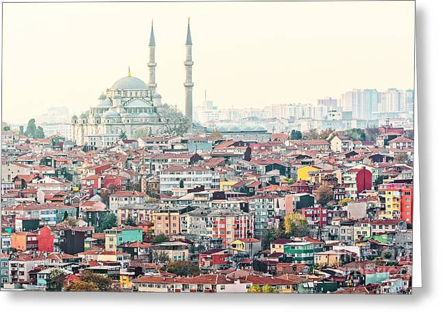 View Over Istanbuls Dense Residential Greeting Card