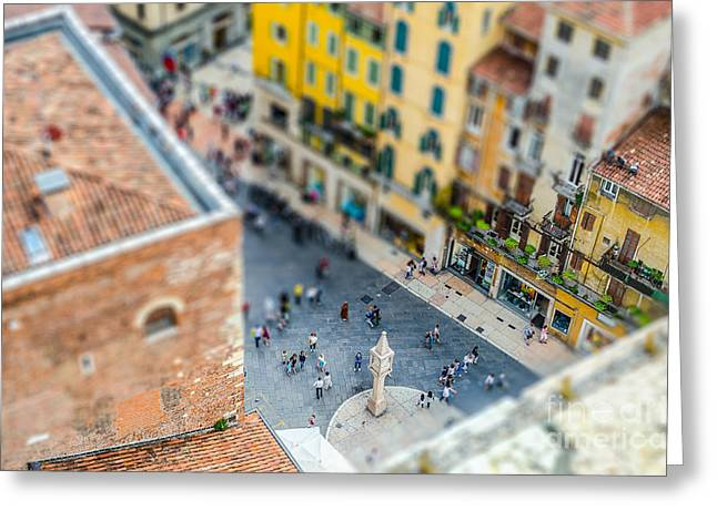 View Over Piazza Delle Erbe Markets Greeting Card