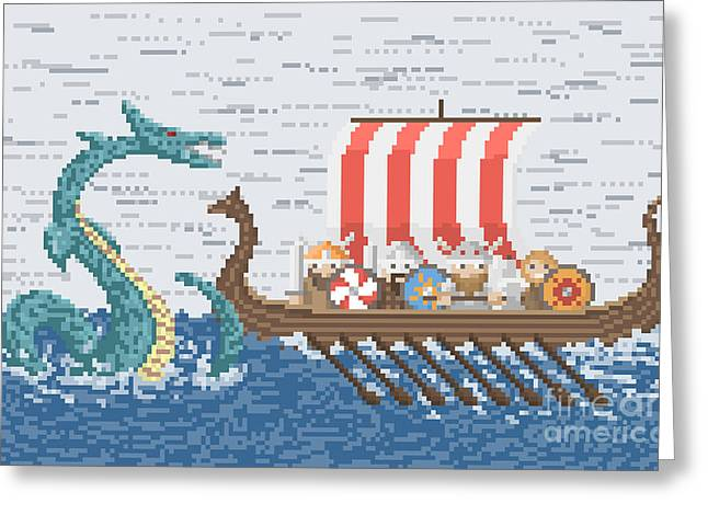Vikings Battle With The Sea Dragon Greeting Card