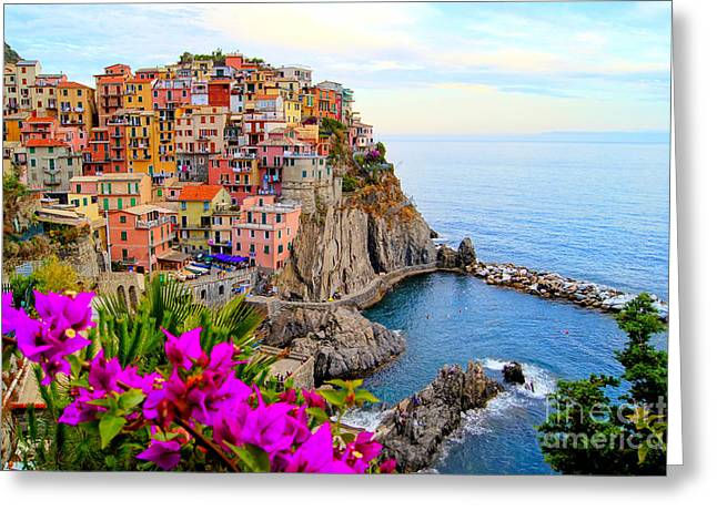 Village Of Manarola, On The Cinque Greeting Card