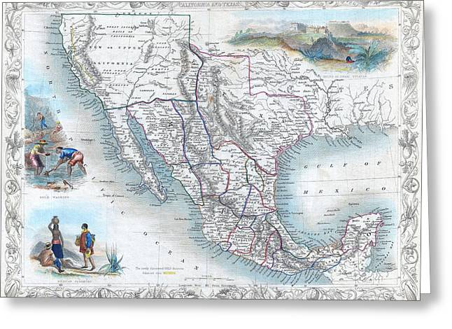 Vingage Map Of Texas, California And Mexico Greeting Card