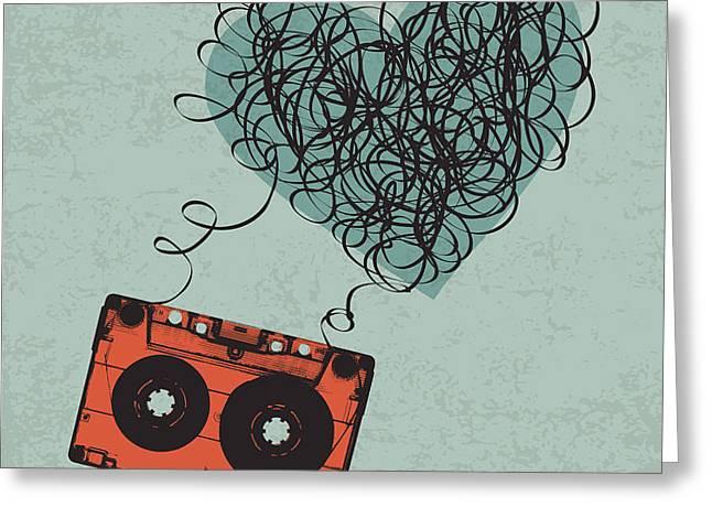 Vintage Audio Cassette Illustration Greeting Card
