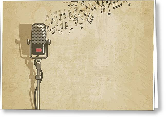 Vintage Background With Microphone - Greeting Card
