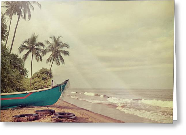 Vintage Beach Background Greeting Card by Sundari