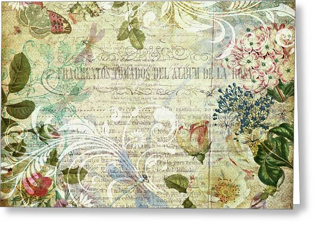 Vintage Botanical Illustration Collage Greeting Card