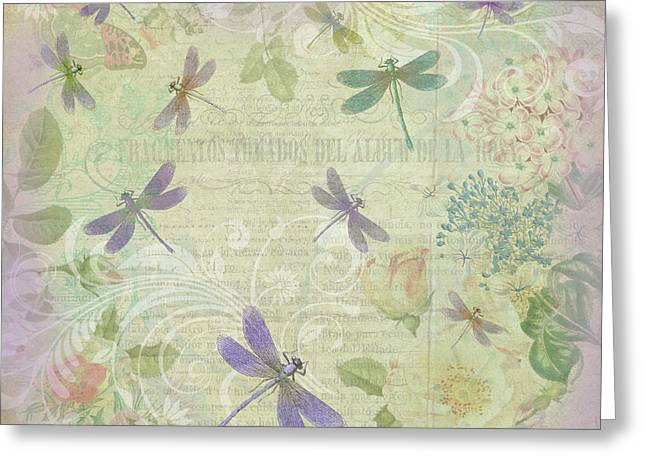 Vintage Botanical Illustrations And Dragonflies Greeting Card