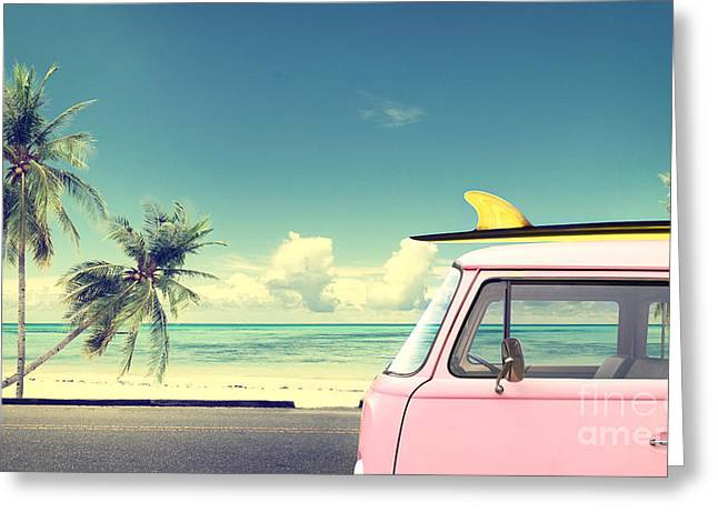 Vintage Car In The Beach With A Greeting Card by Jakkapan
