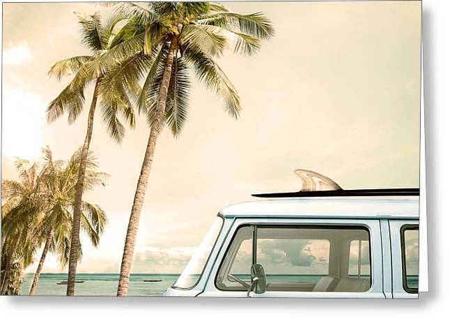 Vintage Car Parked On The Tropical Greeting Card by Jakkapan