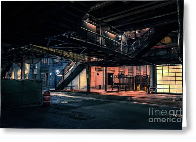 Vintage Chicago L Station At Night Greeting Card