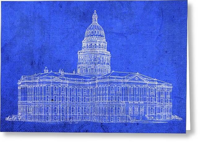 Vintage Colorado State Capitol Building Exterior Architecture Blueprints Greeting Card