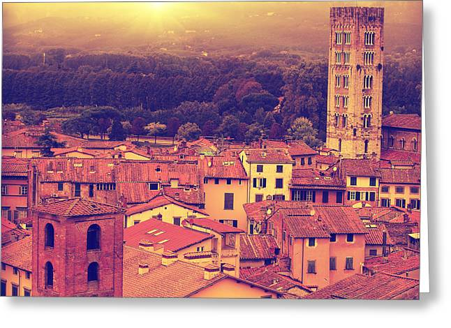 Vintage Image Of Lucca At Sunset, Old Greeting Card