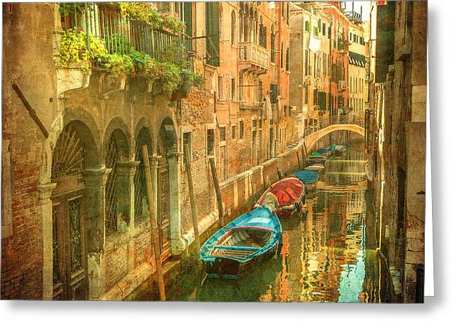 Vintage Image Of Venetian Canals Greeting Card