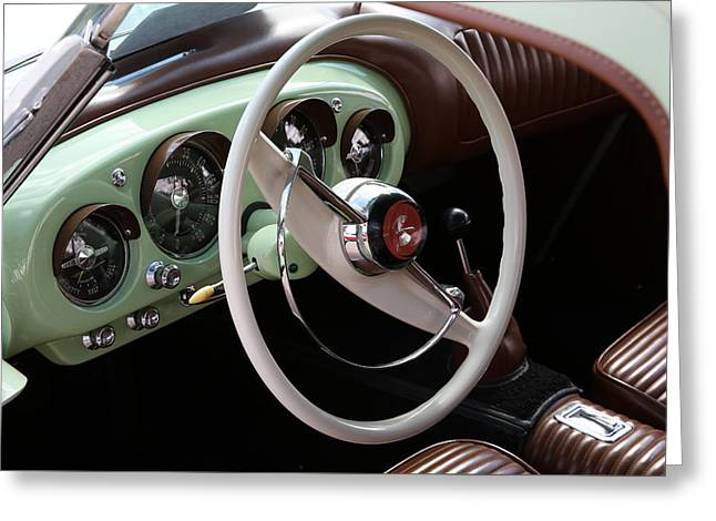 Greeting Card featuring the photograph Vintage Kaiser Darrin Automobile Interior by Debi Dalio