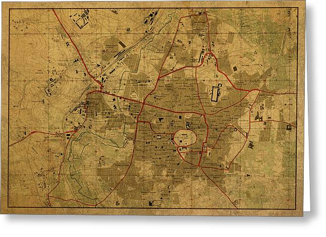 Vintage Map Of Aleppo Syria 1958 Greeting Card
