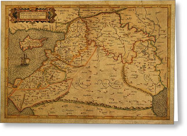 Vintage Map Of Middle East 1584 Greeting Card