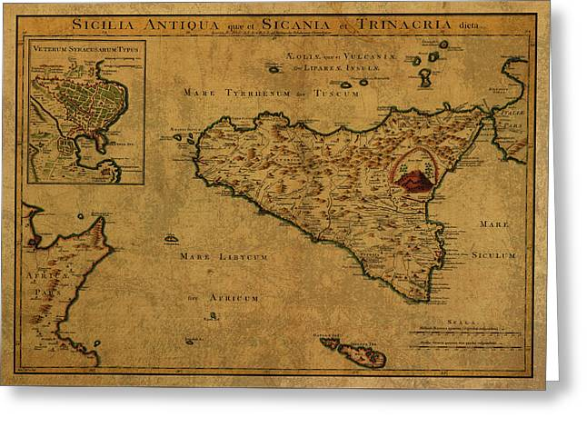 Vintage Map Of Sicily 1768 Greeting Card
