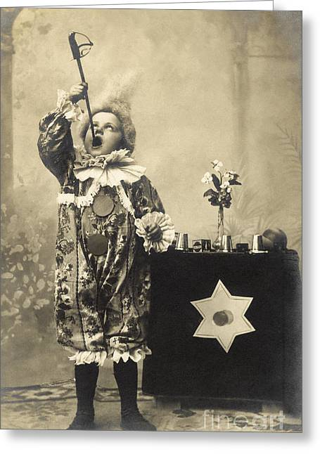 Vintage Photo Of Child Sword Swallower Greeting Card