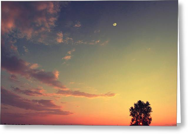 Vintage Picture. Sunset With Moon And Greeting Card