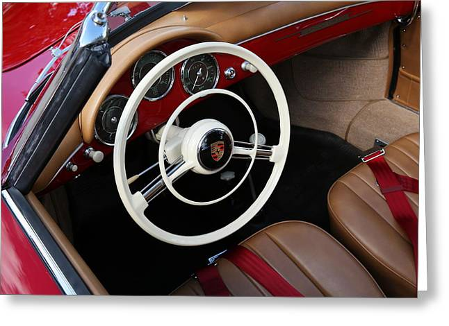 Greeting Card featuring the photograph Vintage Red Convertible Interior by Debi Dalio