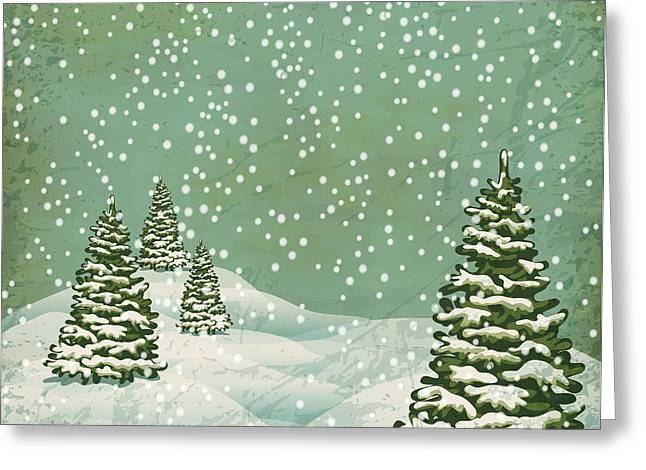 Vintage Postcard With Christmas Trees Greeting Card