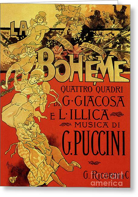 Vintage Poster By Adolfo Hohenstein For Opera La Boheme By Giacomo Puccini Greeting Card