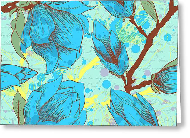 Vintage Seamless Pattern With Magnolia Greeting Card by Elena Eskevich