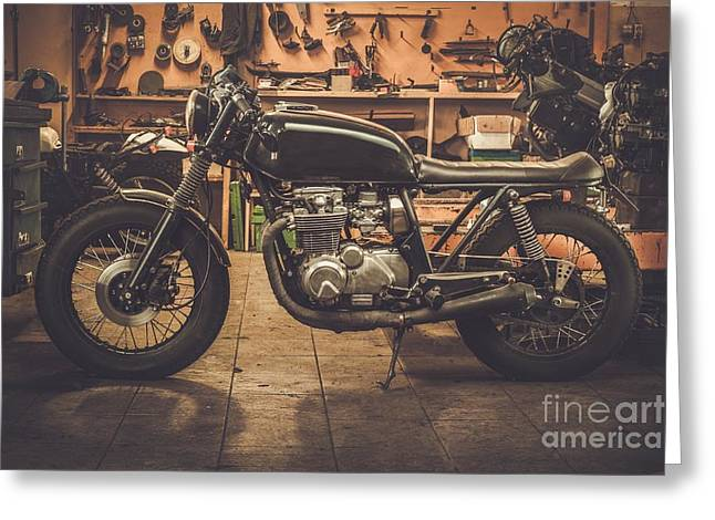 Vintage Style Cafe-racer Motorcycle In Greeting Card