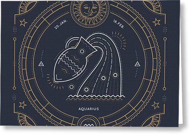 Vintage Thin Line Aquarius Zodiac Sign Greeting Card