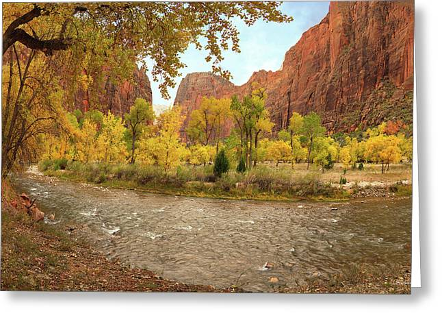 Virgin River Canyon In Autumn Greeting Card by Leland D Howard