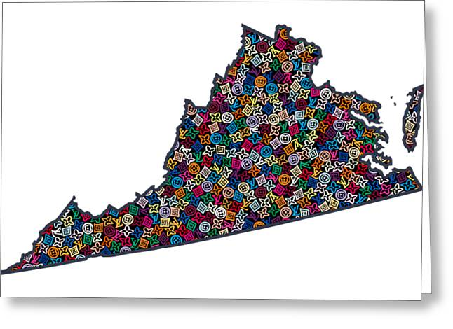 Virginia Map - 1 Greeting Card