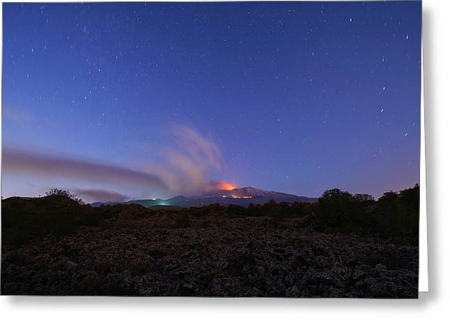 Greeting Card featuring the photograph Volcano Etna Eruption by Mirko Chessari