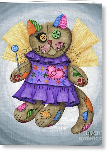 Voodoo Empress Fairy Cat Doll - Patchwork Cat Greeting Card