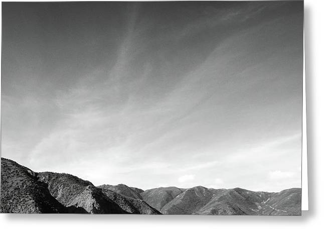 Wainui Hills Squared In Black And White Greeting Card