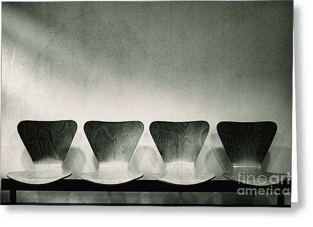 Waiting Room With Empty Wooden Chairs, Concept Of Waiting And Passage Of Time, Black And White Image, Free Space For Text. Greeting Card